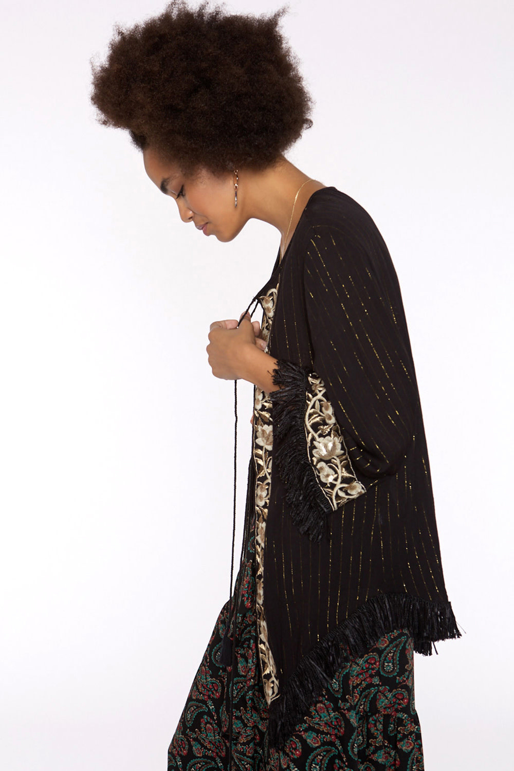 Kaftan Long with golden thread-3