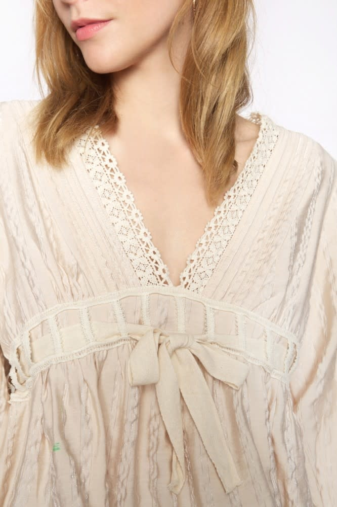Blouse Blondas fabric with silver thread-3