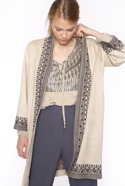 Kimono Long with embroidery pockets