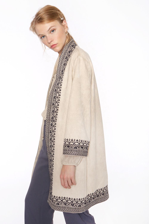 Kimono Long with embroidery pockets-2