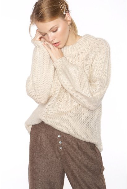 Trui Thick knit sweater with tie behind