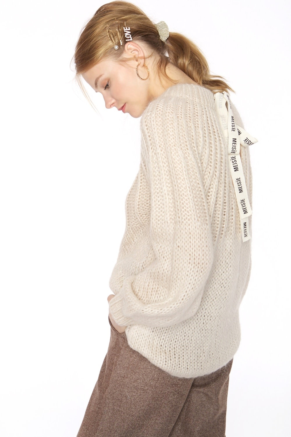 Trui Thick knit sweater with tie behind-2