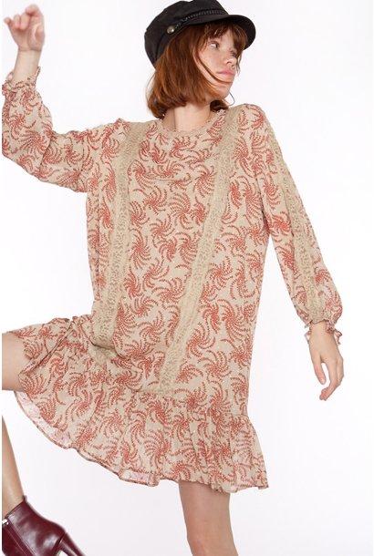 Jurk Chiffon fabric with long sleeve