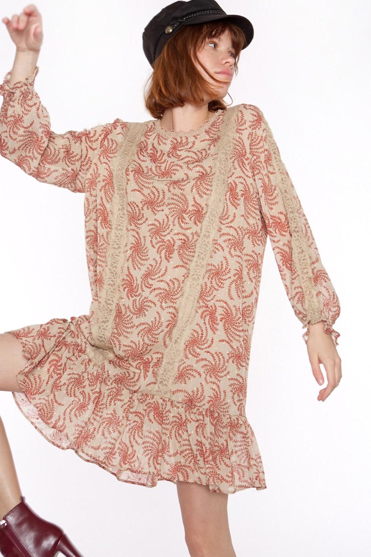 Jurk Chiffon fabric with long sleeve-1