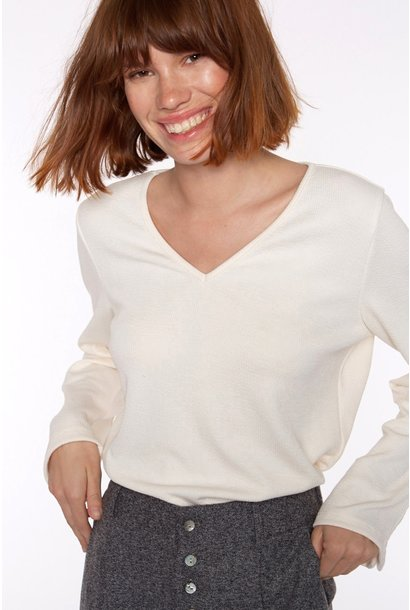 Top Ribbed knit with sleeve Ivory