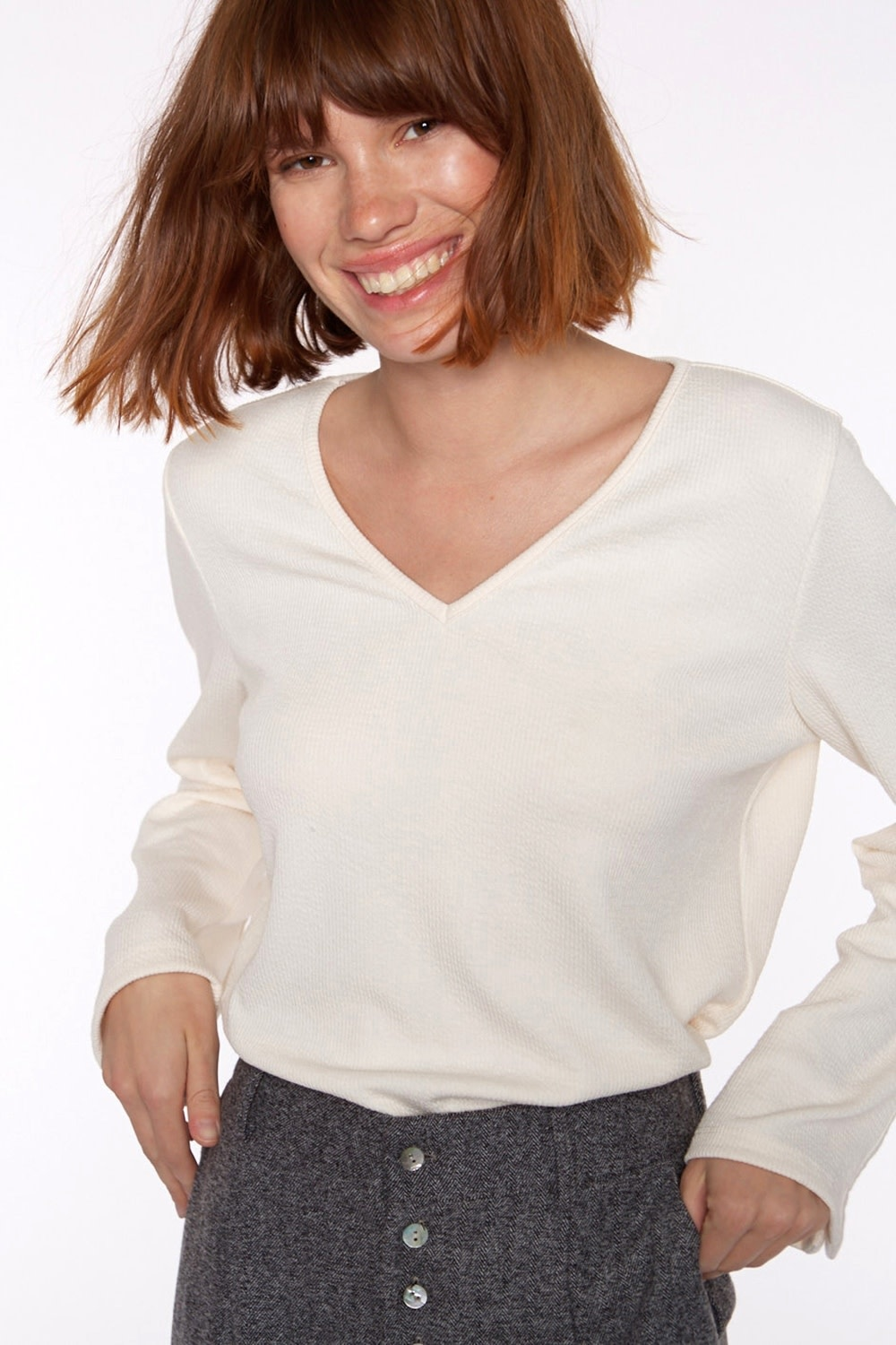 Top Ribbed knit with sleeve Ivory-1