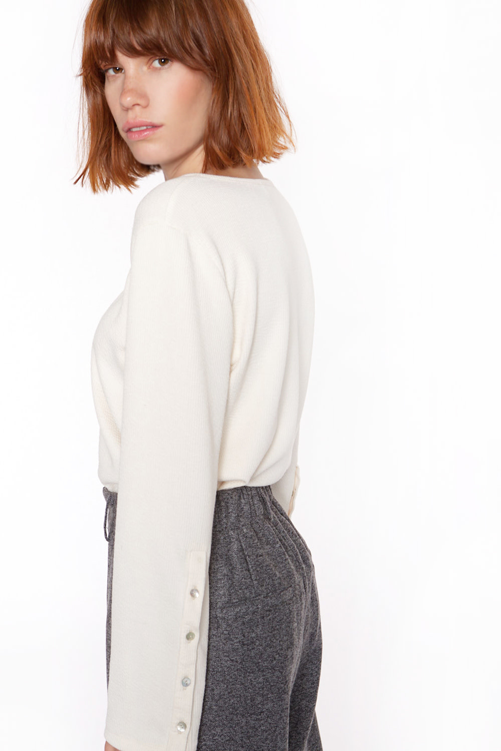 Top Ribbed knit with sleeve Ivory-2