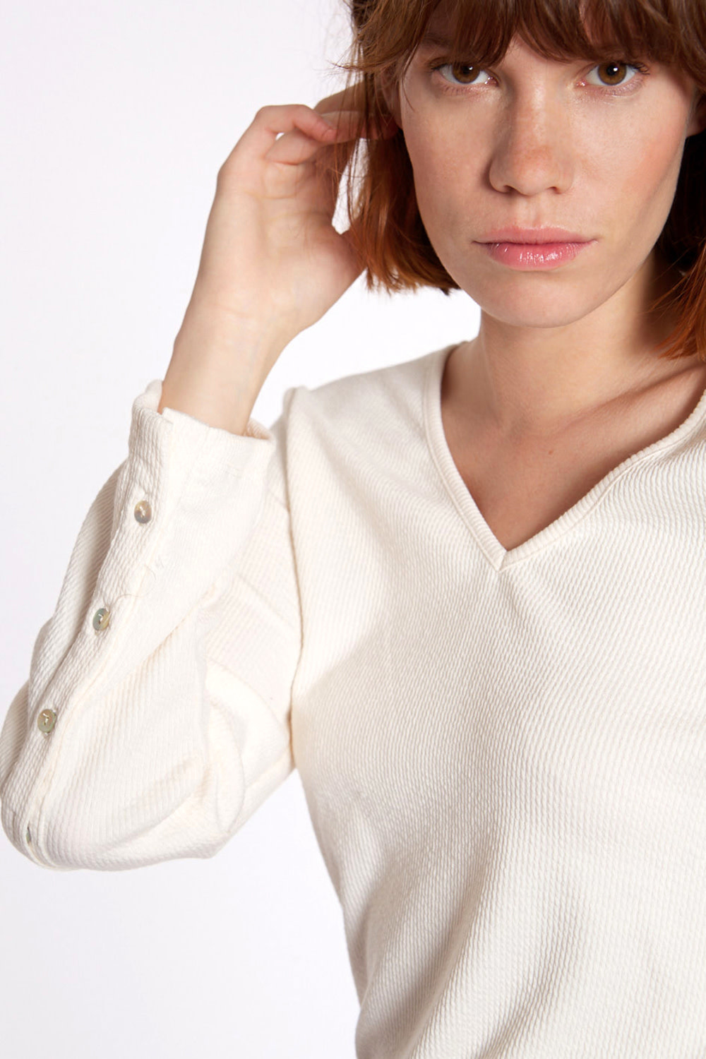 Top Ribbed knit with sleeve Ivory-3