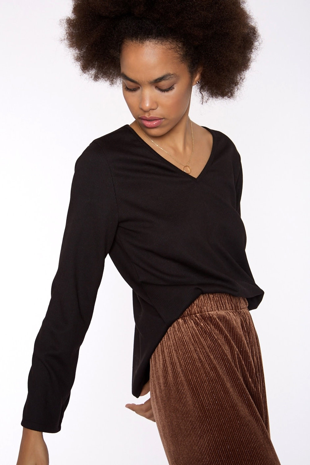 Top Ribbed knit with sleeve Black-1