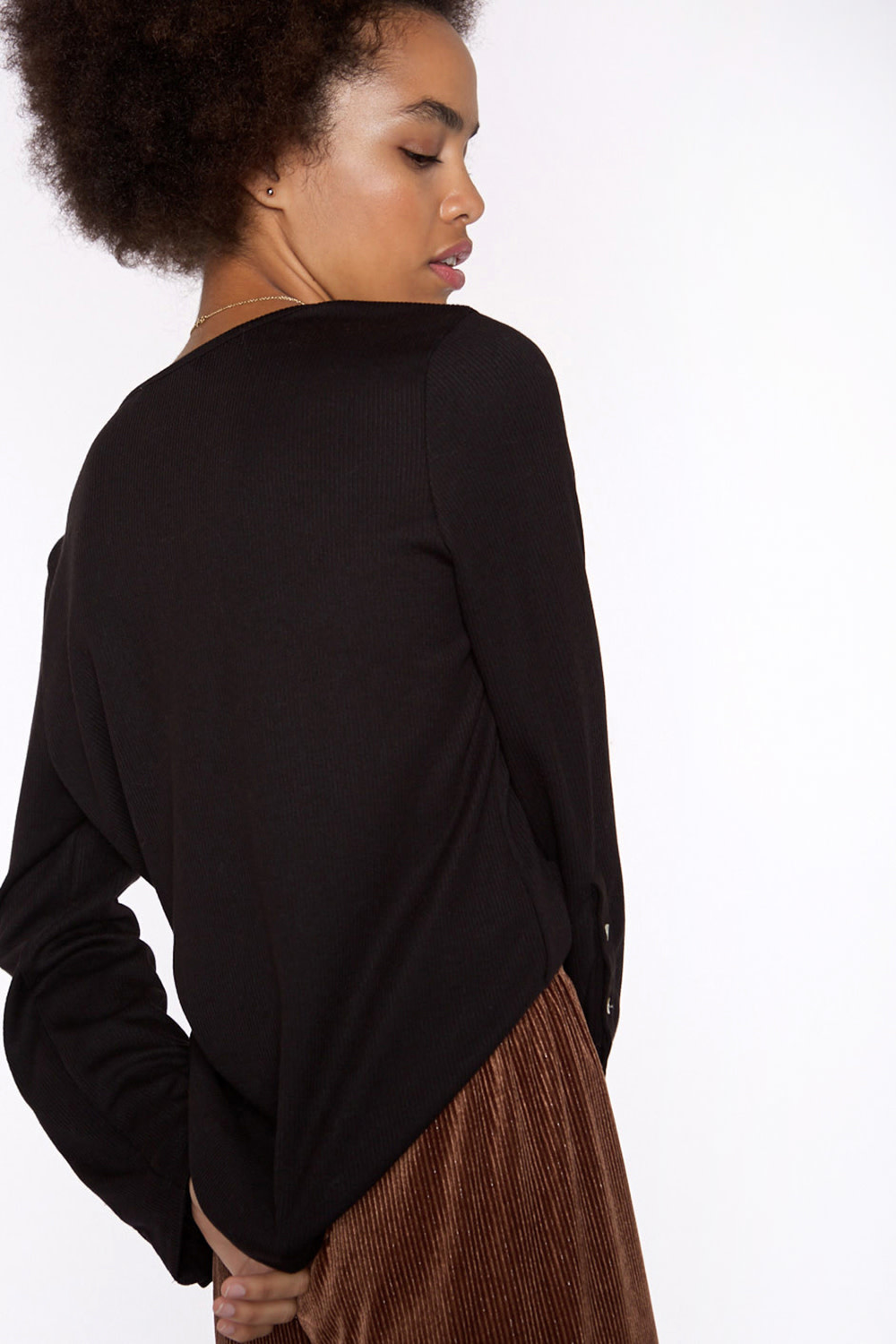 Top Ribbed knit with sleeve Black-3