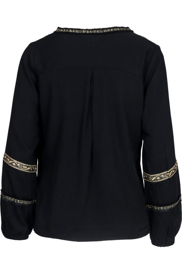 Blouse Embroidery fringes black-3