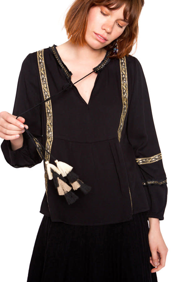 Blouse Embroidery fringes black-2
