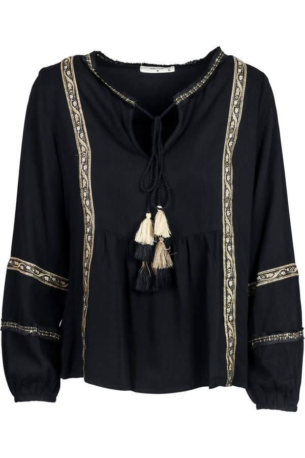 Blouse Embroidery fringes black-1