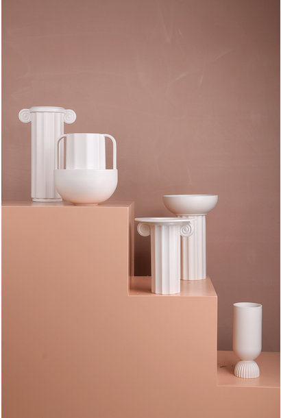 Vaas ceramic white greek D