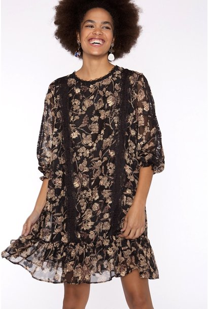 Jurk Chiffon fabric with long sleeve black