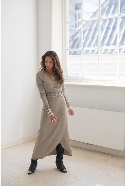 Jurk Jasmine knitted wrap Taupe