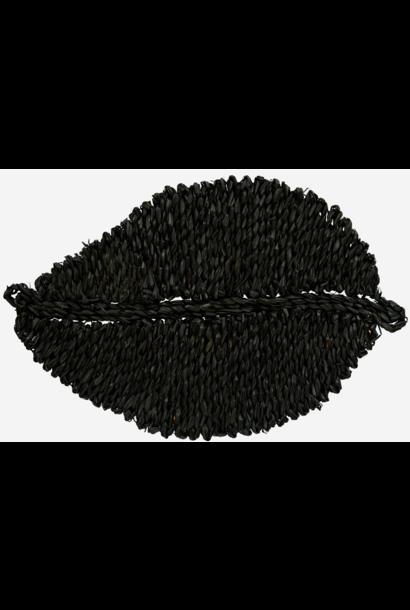 Placemat seagrass black 15x34cm