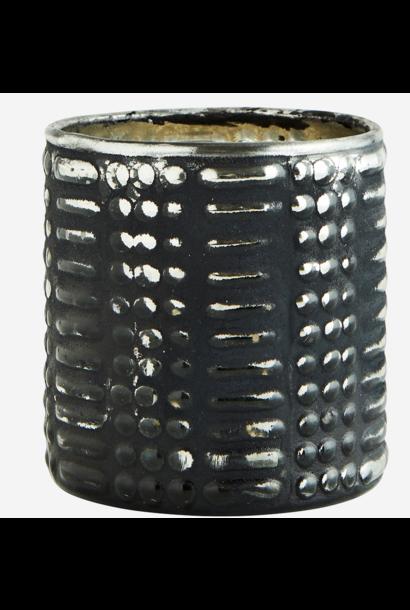 Vaas votive glass 7x8cm Black