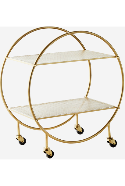 Kast Trolley round iron 70x40x77cmGold