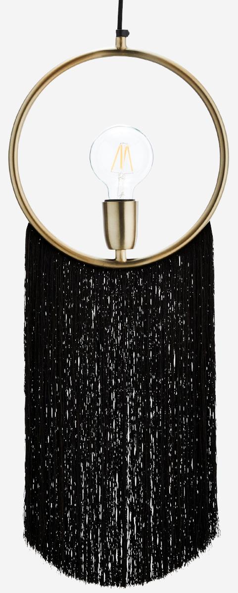 Hanglamp Pendant W//Tassels 27x67cm Black-1