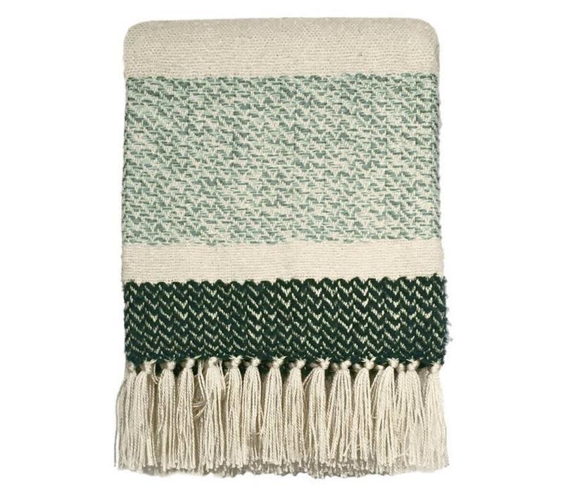 Woondeken Berber grainy green throw-1