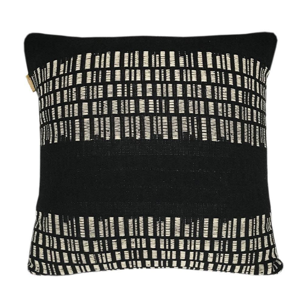 Kussen Bark stripe cotton black-1