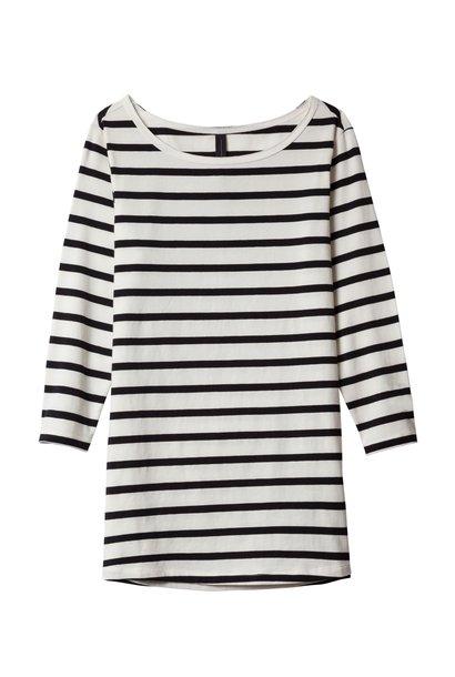 Shirt boat neck Black White