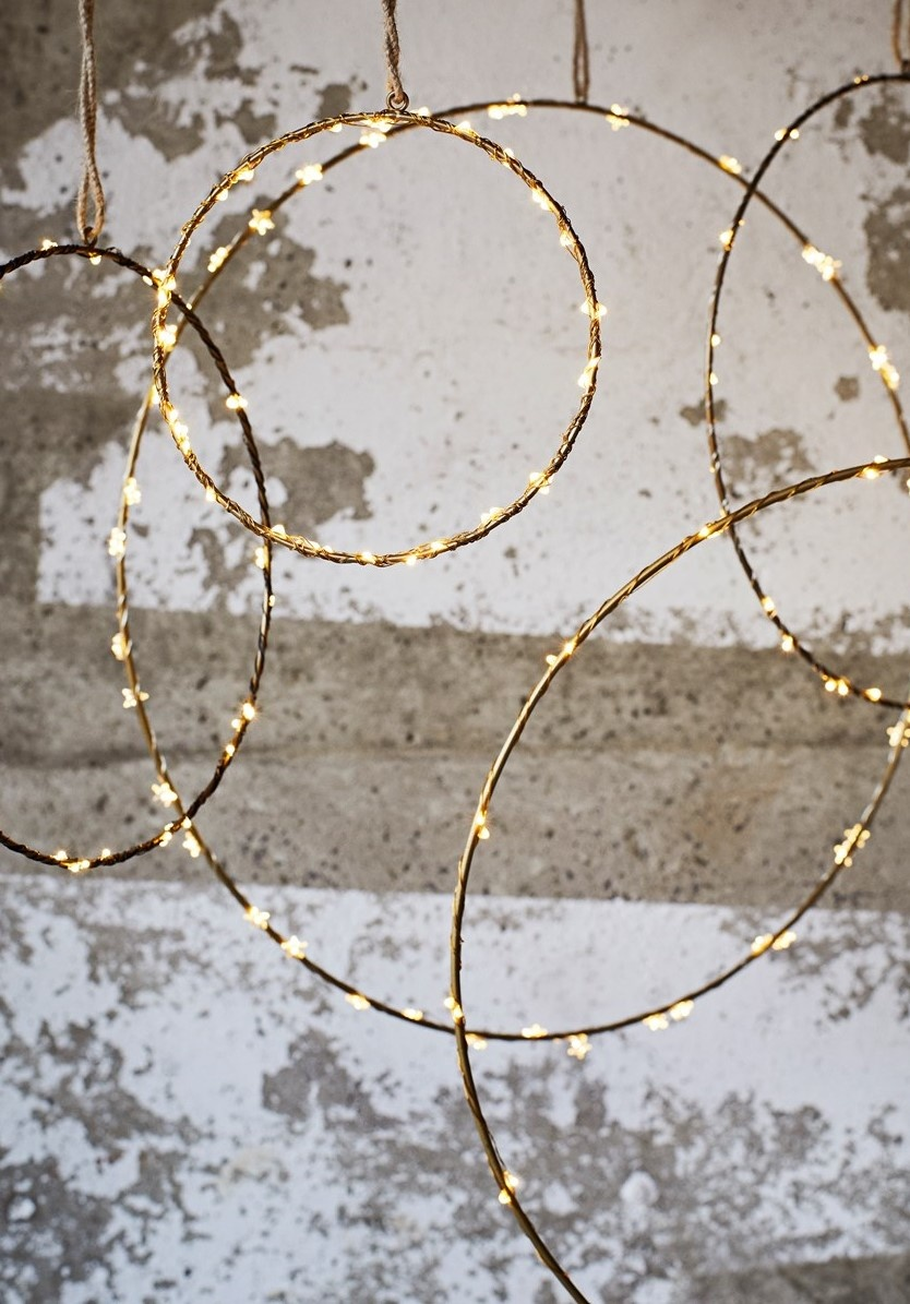 Hangdecoratie wire ring  Ø60cm Gold-2