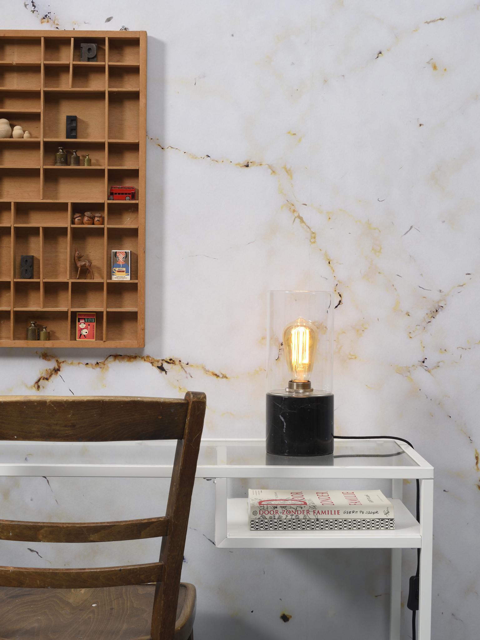 Tafellamp Athens glas marmer zwart-2