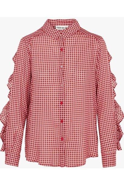 Shirt Ruffled back printed Red