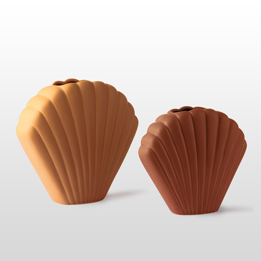 Vaas ceramic shell 25x21cm Terracotta-3
