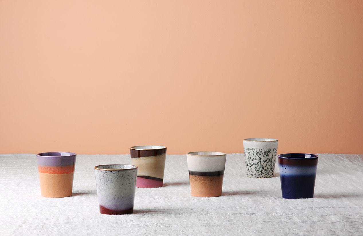 Mok ceramic 70's dunes 7x8cm Pink Brown-2