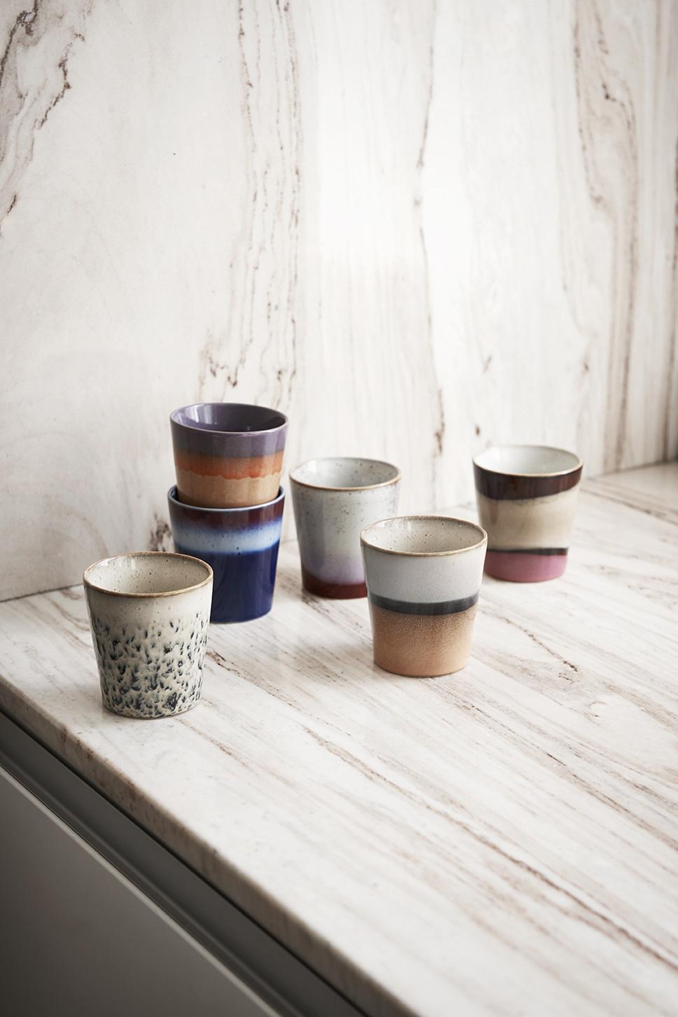 Mok ceramic 70's dunes 7x8cm Pink Brown-3