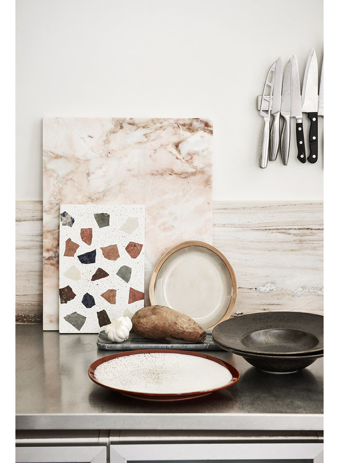 Bord ceramic side plate  70's earth (set of 2)