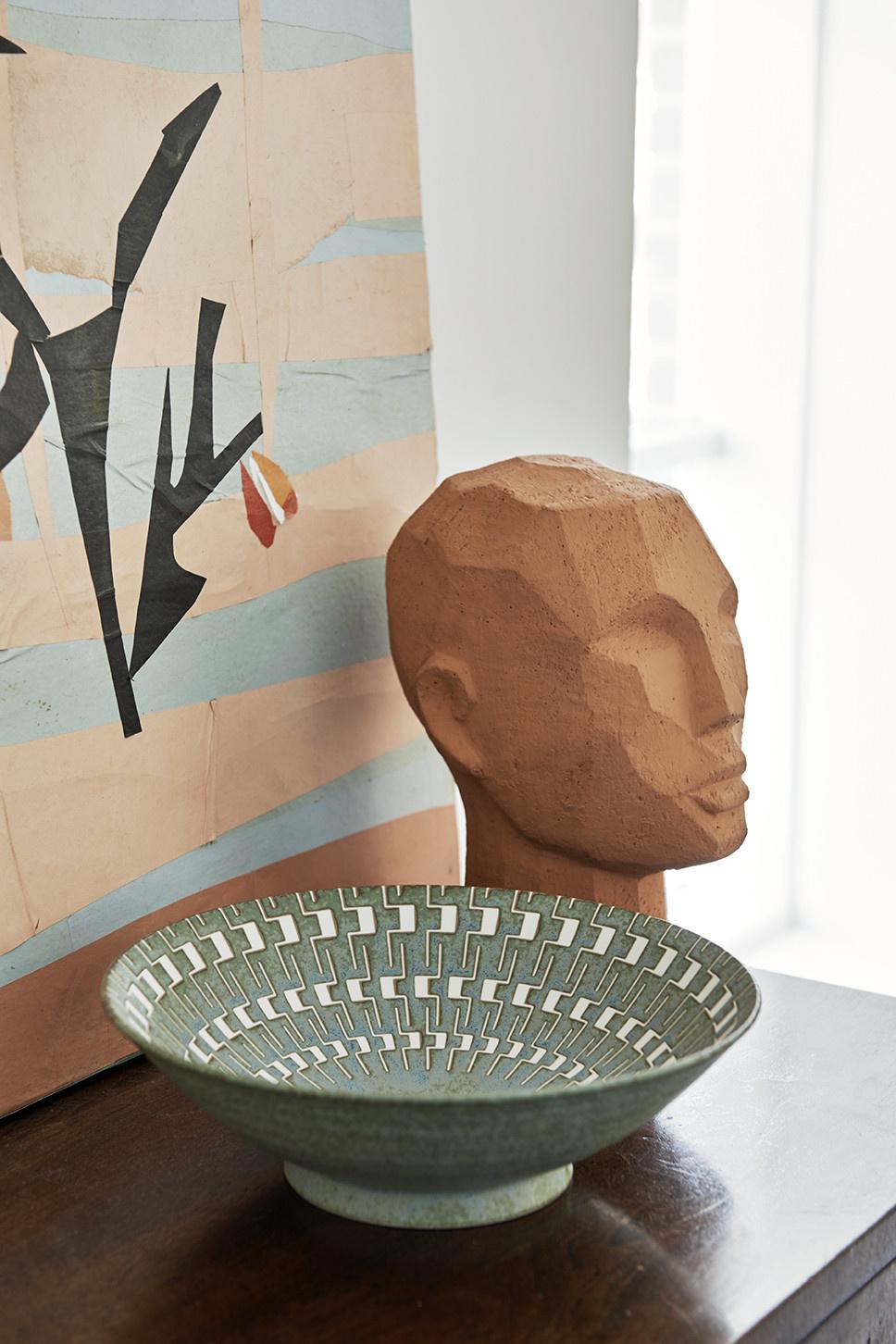 Object abstract head 18x15x25cm Terracotta-2