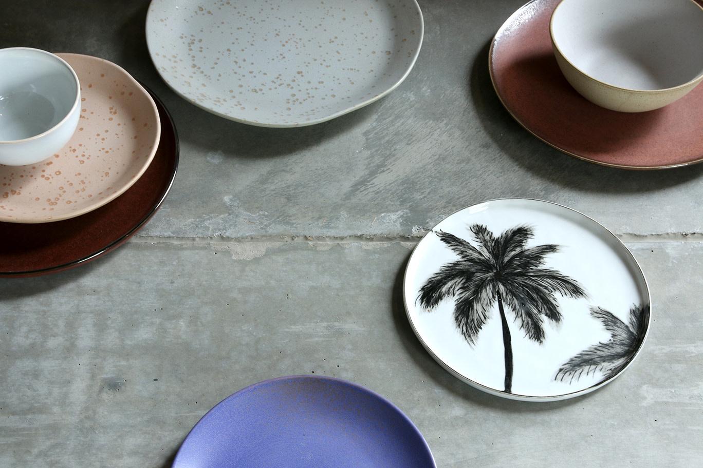 Bord ceramics porcelain palms 27x27cm Black White-2