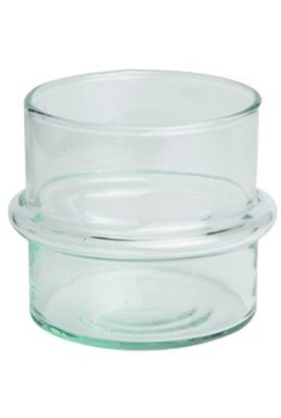 Waxinehouder Recycled glass 10x10cm