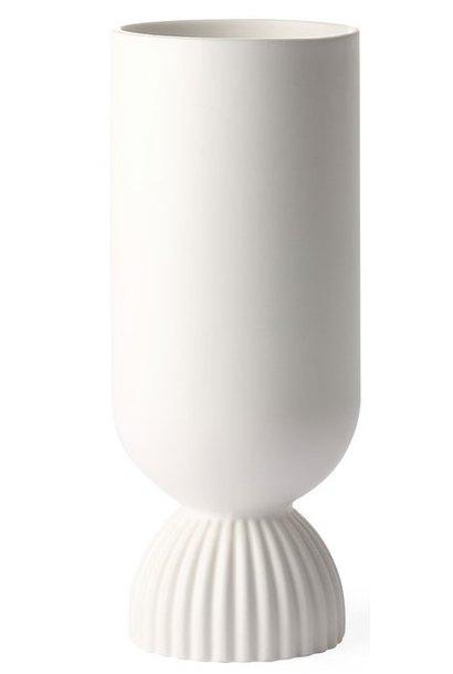 Vaas ceramic flower ribbed 11x25cm White