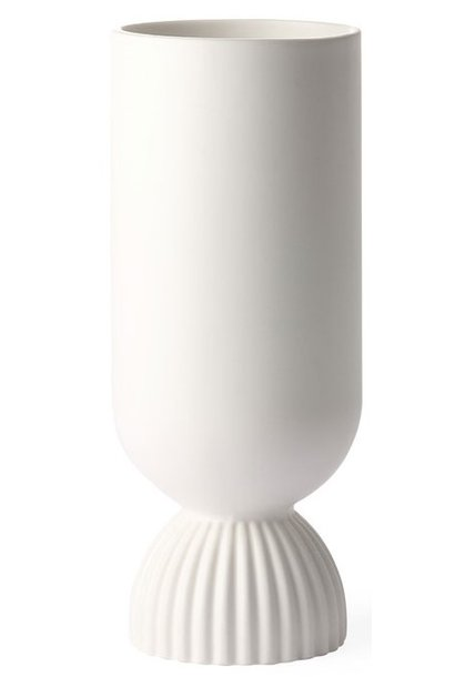 Vaas ceramic flower vase ribbed base white