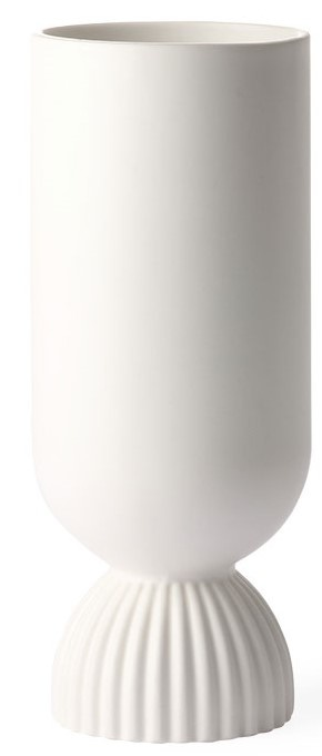 Vaas ceramic flower vase ribbed base white-1