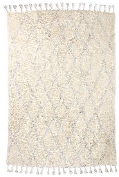 Vloerkleed woolen berber zigzag 180x280cm Light blue
