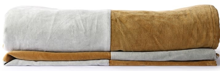 Woondeken striped velvet 240x260cm Grey Gold-3