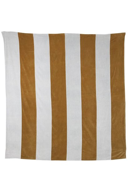 Woondeken striped velvet 240x260cm Grey Gold