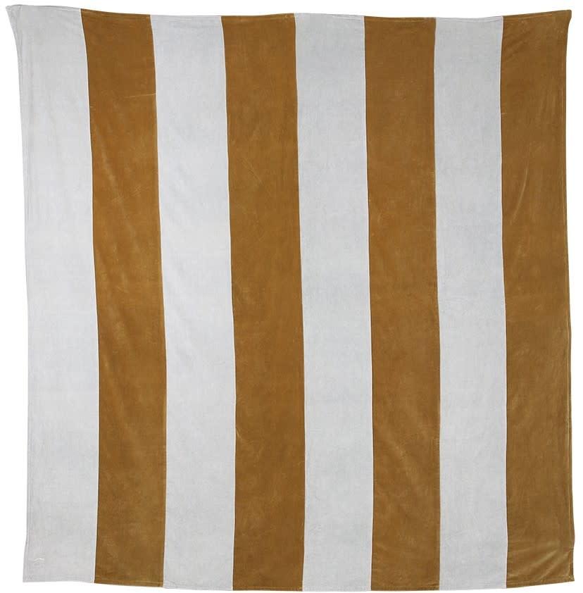 Woondeken striped velvet 240x260cm Grey Gold-1