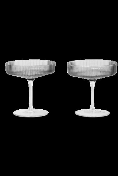 Glazenset 2 Ripple Champagne Ø11xH11cm Grey