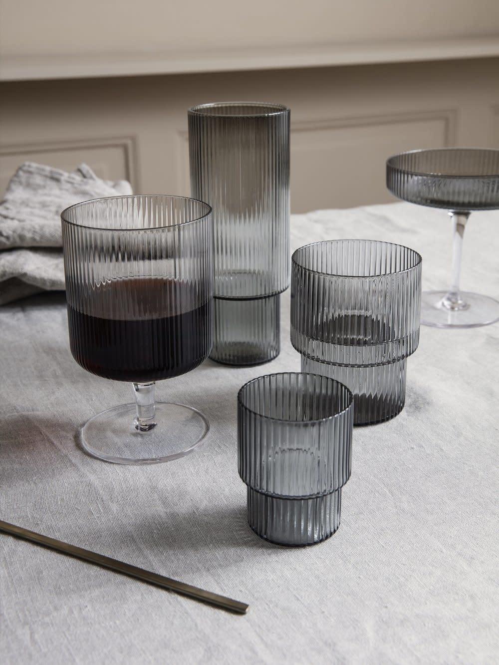 Glazenset 4 Ripple Long Drink Ø7xH14cm Grey-2
