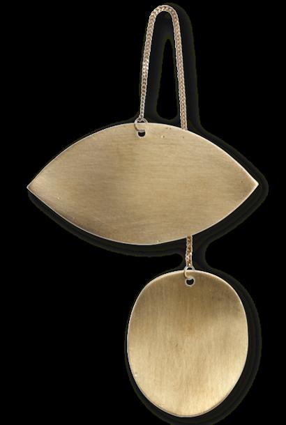Decoratie Twin eye Brass 7x12cm Gold