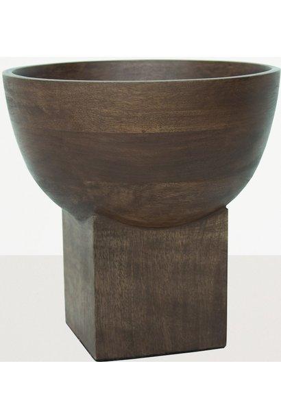 Kom op voet 20x20cm mango Wood