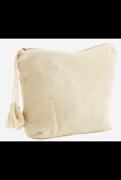 Toilettas cotton tassels 20x14cm Ecru