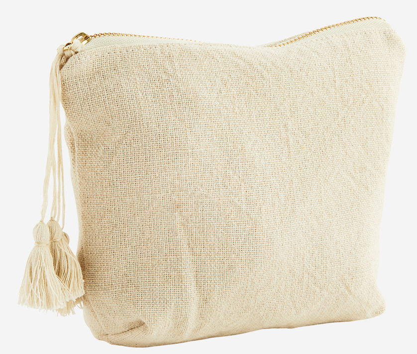 Toilettas cotton tassels 20x14cm Ecru-1